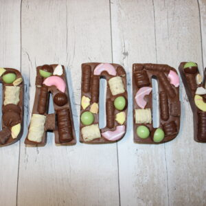 DADDY loaded milk chocolate letters